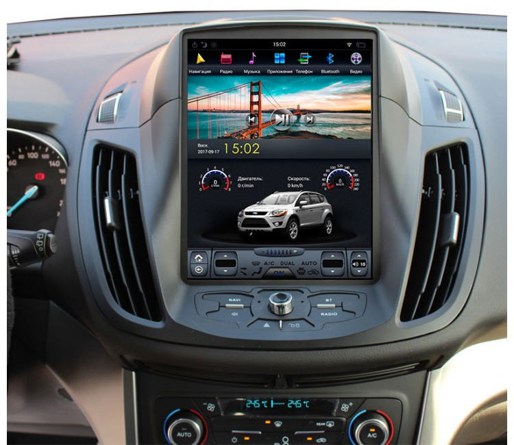 Штатное головное устройство в стиле Tesla для Ford Kuga на OS Android 9.0.1