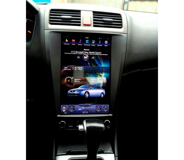 Штатное головное устройство в стиле Tesla для Honda Accord 7 на OS Android 6.0.1, Super Audio