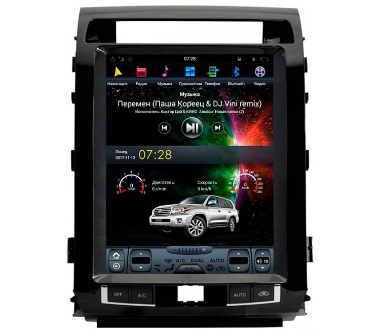 Штатное головное устройство в стиле Тесла для Toyota Land Cruiser 200 на OS Android 9.0.1