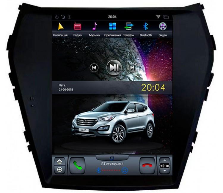Штатная мультимедийная система в стиле Tesla на OS Android 9.0.1 для Hyundai SantaFe, IX45, Super Audio