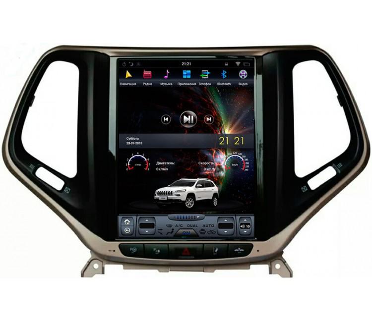 Штатное головное устройство в стиле Тесла для Jeep Cherokee на OS Android 9.0.1