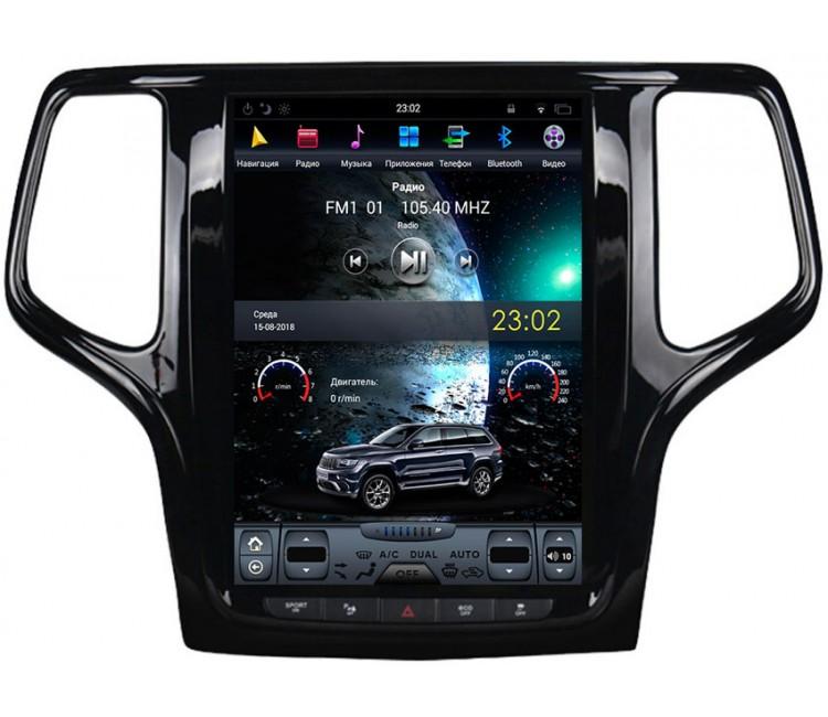 Штатное головное устройство в стиле Тесла для Jeep Grand Cherokee на OS Android 9.0.1, Super Audio