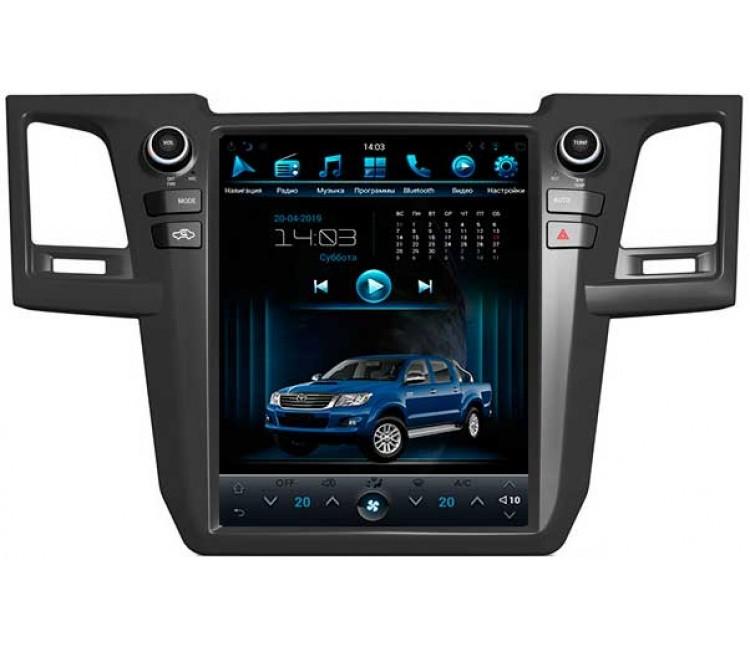 Штатная мультимедийная система в стиле Tesla для Toyota Hilux, Fortuner VII Android 9.0.1, Super Audio