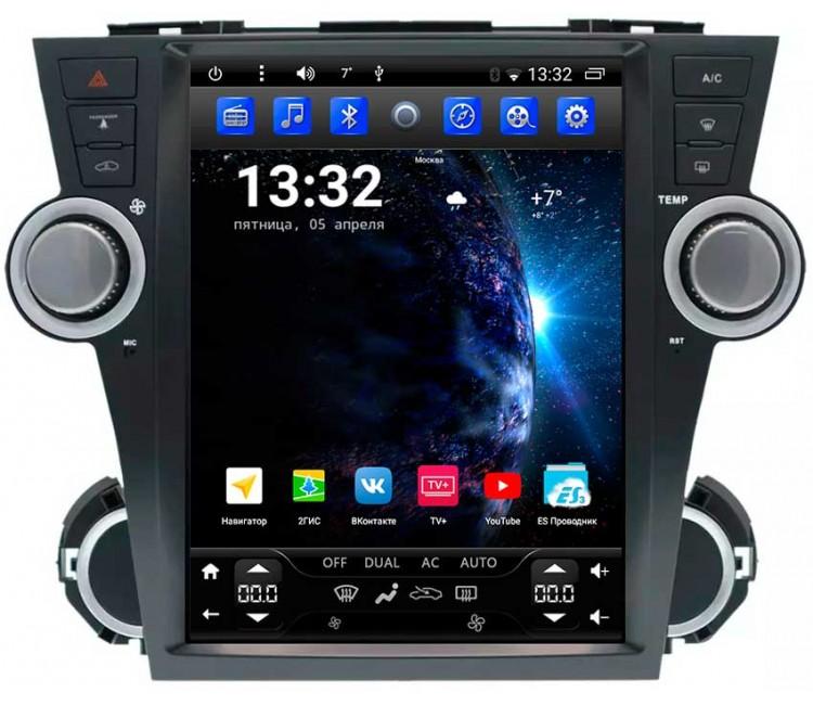 Штатное головное устройство в стиле Тесла для Toyota Highlander XU40 на OS Android 6.0.1
