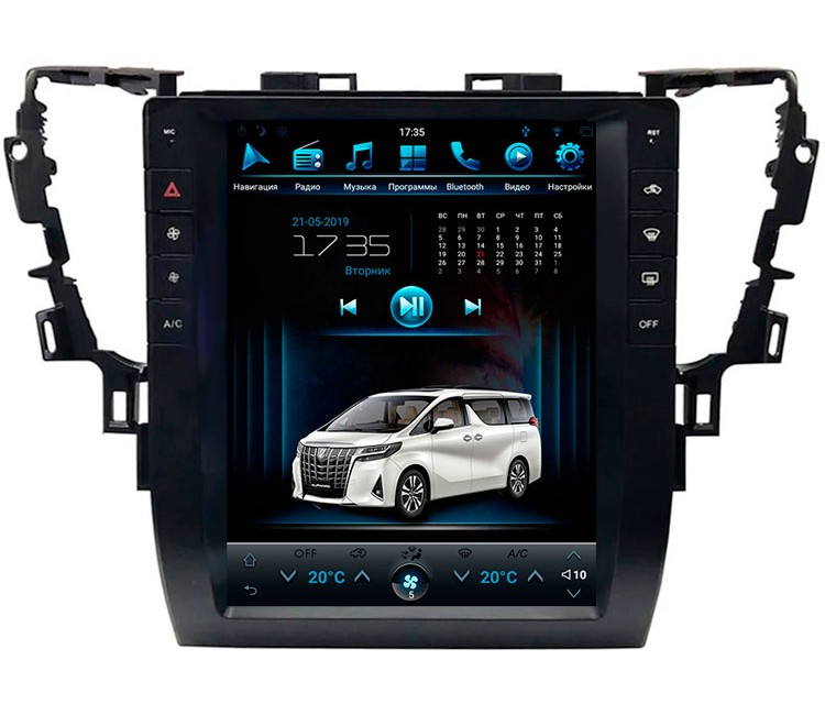 Штатная мультимедийная система в стиле Тесла на OS Android 8.0.1 для Toyota Alphard H30