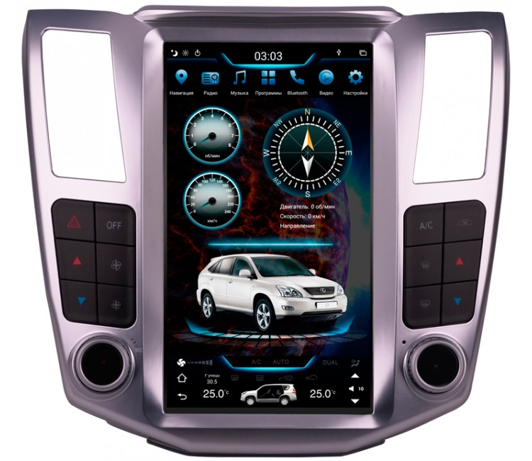 Штатное головное устройство в стиле Tesla для Lexus RX II на OS Android 9.0.1, Super Audio