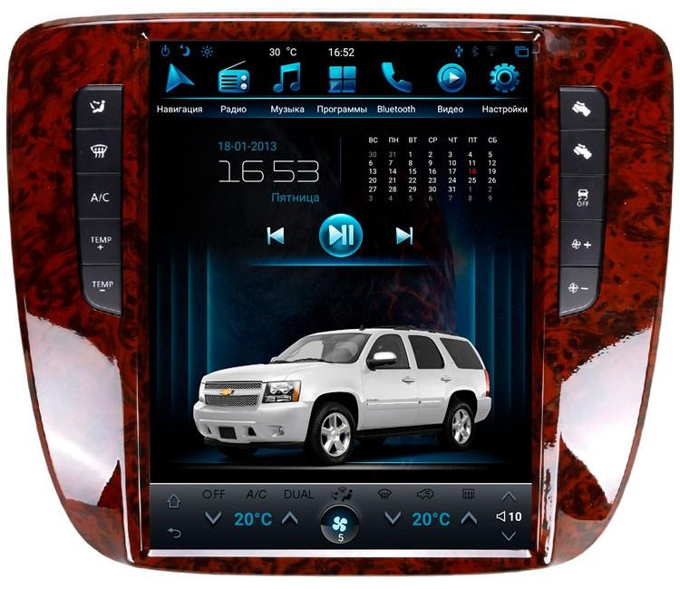 Штатная мультимедийная система в стиле Тесла для Chevrolet Tahoe GMT900 на OS Android 9.0.1, Mankana