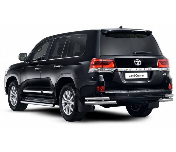 Защита заднего бампера двойная угловая Ø51/63мм (нерж) для Toyota Land Cruiser 200