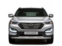 Защита переднего бампера одинарная Ø63мм (нерж) Hyundai Santa Fe